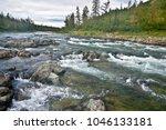 river rapids in the polar urals....   Shutterstock . vector #1046133181