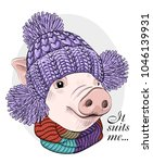 vector pig with violet knitted... | Shutterstock .eps vector #1046139931