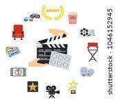 set of cinema icons. flat...   Shutterstock .eps vector #1046152945
