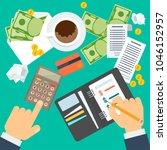 payment of bills flat vector... | Shutterstock .eps vector #1046152957