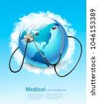 stethoscope against a globe.... | Shutterstock .eps vector #1046153389