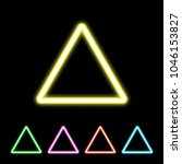colorful neon triangle sign.... | Shutterstock .eps vector #1046153827