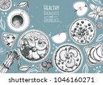 breakfasts top view  healthy...   Shutterstock .eps vector #1046160271