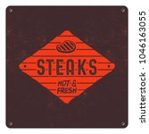 steaks patch design. bbq retro... | Shutterstock .eps vector #1046163055
