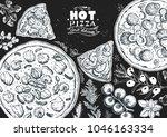 italian pizza and ingredients...   Shutterstock .eps vector #1046163334