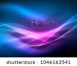 neon smoke waves  vector... | Shutterstock .eps vector #1046163541
