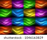 set of neon wave backgrounds... | Shutterstock .eps vector #1046163829