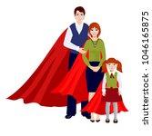 happy super family in red cloak ... | Shutterstock .eps vector #1046165875