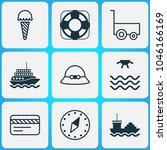travel icons set with compass ... | Shutterstock .eps vector #1046166169