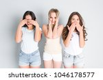 three girls standing in a pose... | Shutterstock . vector #1046178577