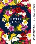spring time lovely time poster... | Shutterstock .eps vector #1046183401