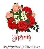 springtime rose flowers bunch... | Shutterstock .eps vector #1046184124