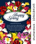 happy spring floral poster of... | Shutterstock .eps vector #1046184145