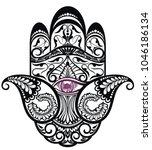 hamsa  hand of fatima vector... | Shutterstock .eps vector #1046186134