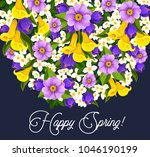 happy spring greeting card of... | Shutterstock .eps vector #1046190199