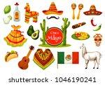 cinco de mayo festival icon set ... | Shutterstock .eps vector #1046190241