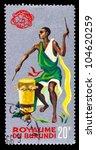 BURUNDI - CIRCA 1965 : Stamp printed in Burundi show 1965 Tribal Dancers and musician, circa 1965 - stock photo