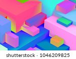 abstract geometric cubic... | Shutterstock . vector #1046209825