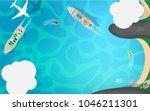 tropical summer coast island... | Shutterstock .eps vector #1046211301