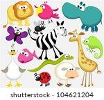 Stock vector funny cartoon animals 104621204