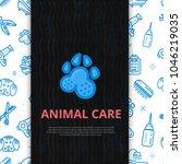 dog grooming line art poster... | Shutterstock .eps vector #1046219035