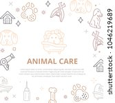 dog care line art banner with... | Shutterstock .eps vector #1046219689