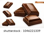 chocolate pieces. 3d realistic... | Shutterstock .eps vector #1046221339