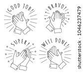 doodle hands claps. hand drawn... | Shutterstock .eps vector #1046237479