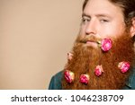 a bearded man with a decorated... | Shutterstock . vector #1046238709