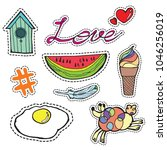 set of fashion icon patches... | Shutterstock .eps vector #1046256019