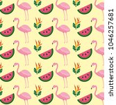 tropical flamingo watermelon... | Shutterstock .eps vector #1046257681