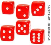 The Faces Of Six Colored Dice