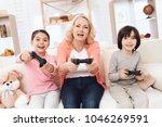 joyful grandmother with... | Shutterstock . vector #1046269591