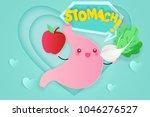 cute cartoon stomach on the... | Shutterstock . vector #1046276527