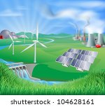 different power generation ways ... | Shutterstock .eps vector #104628161