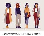 fashion vintage girls in vogue... | Shutterstock .eps vector #1046297854