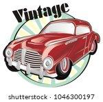 vintage car with vintage banner | Shutterstock . vector #1046300197