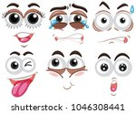 six set of human face with... | Shutterstock .eps vector #1046308441