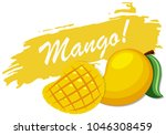 logo design with fresh mango... | Shutterstock .eps vector #1046308459
