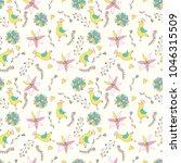 seamless pattern with cartoon... | Shutterstock .eps vector #1046315509