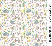 seamless pattern with cartoon... | Shutterstock .eps vector #1046315719