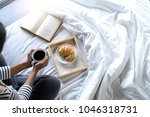 relax woman read a book on the... | Shutterstock . vector #1046318731