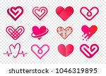 heart logo vector icons set.... | Shutterstock .eps vector #1046319895