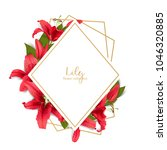 wedding invitation with red... | Shutterstock .eps vector #1046320885