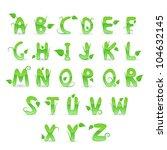 green floral alphabet. vector... | Shutterstock .eps vector #104632145