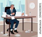 furious businessman sitting in... | Shutterstock .eps vector #1046332831