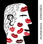 man with many kisses in her face - stock vector