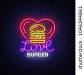 burger logo vector. love burger ... | Shutterstock .eps vector #1046344861