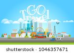 modern cityscape with cars.... | Shutterstock .eps vector #1046357671