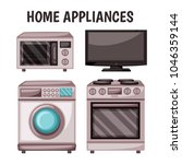 home appliances vector drawings.... | Shutterstock .eps vector #1046359144